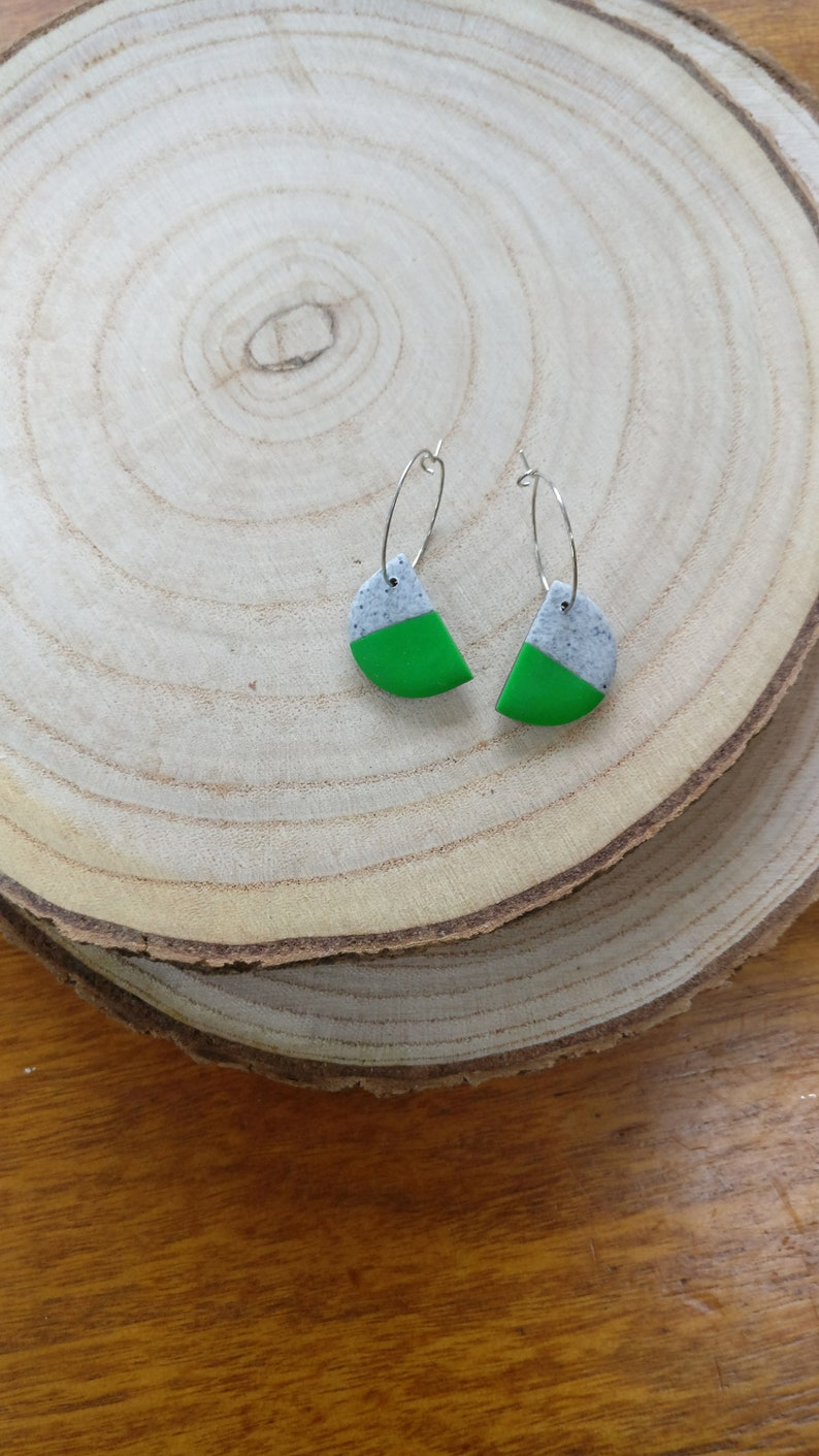 Half moon polymer clay earrings on hoop green side of the image 0