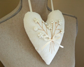 Decorative Hanging Heart with Ivory, Pearl, and White Floral Button Posy -White on White Decor/ Shabby Chic Hearts
