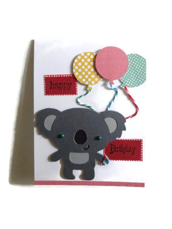 Koala Bear Birthday Card Kids Greeting Cards Koala Bear Etsy