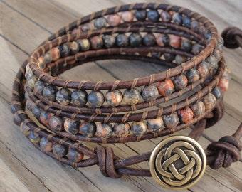 Triple Leather Wrap Bracelet with 4mm Leopardskin Jasper Beads & Celtic Knot Button