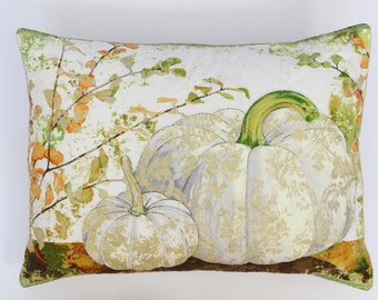 Embroidered Pumpkins & Leaves Pillow