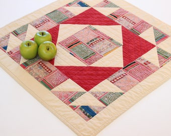 Quilted Table Topper, Quilted Candle Mat, Farmhouse Decor, Country Home Decor