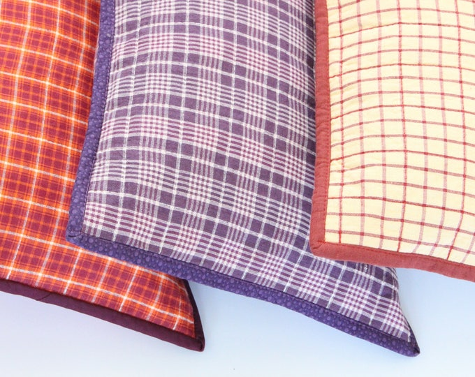 Ultra Violet Purple Plaid Decorative Throw Pillow