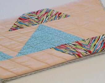 Modern Triangle Quilt, Light Blue Peach Quilt, Homemade Throw Quilt