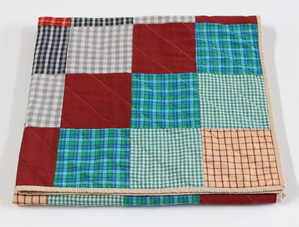 Plaid Baby Quilt: Red Blue Plaid Patchwork Baby Quilt Nursery Decor