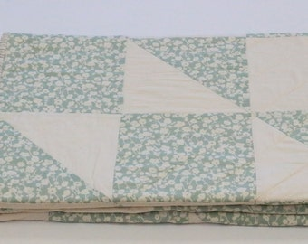 Teal Throw Blanket, Lap Quilt, Handmade Quilts for Sale