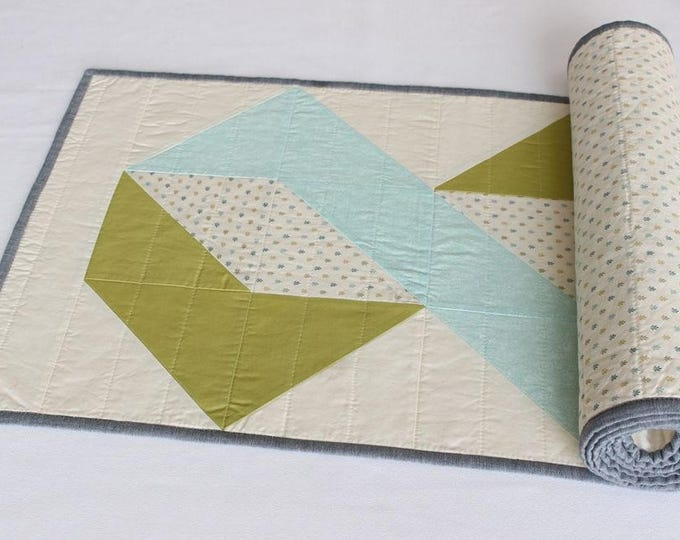 Reversible Blue Green Quilted Patchwork Table Runner