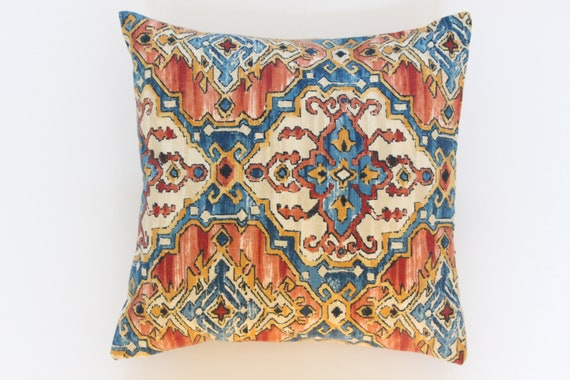 Ikat Pillow Cover Blue Pillows Orange