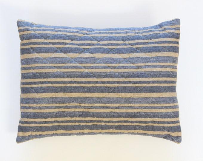 Blue Farmhouse Ticking Stripe Pillow