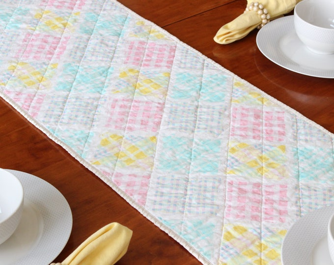 Pastel Quilted Table Runner