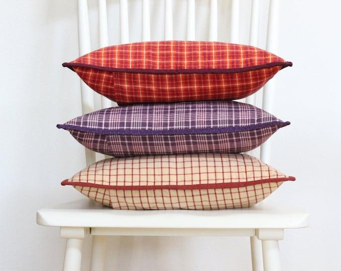 Rustic Red Windowpane Plaid Throw Pillow