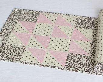 Pink Quilted Table Runner, Polka Dot Table Runner, Reversible Table Runner
