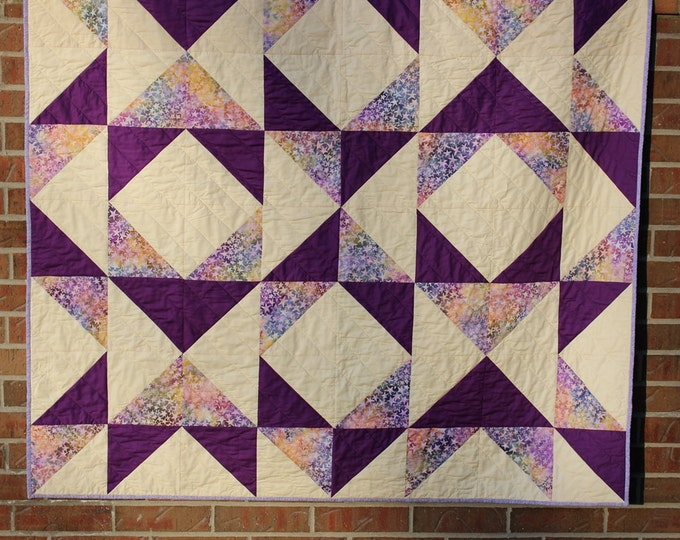 Purple Batik Patchwork Quilted Throw