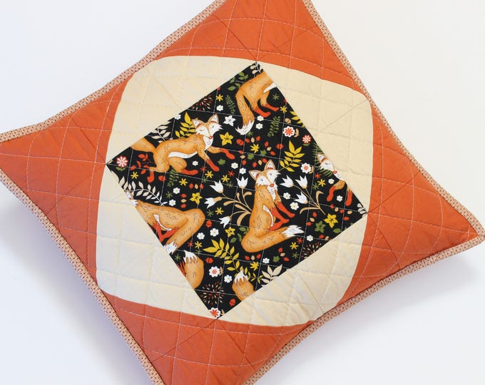 Quilted Terracotta Fox Pillow