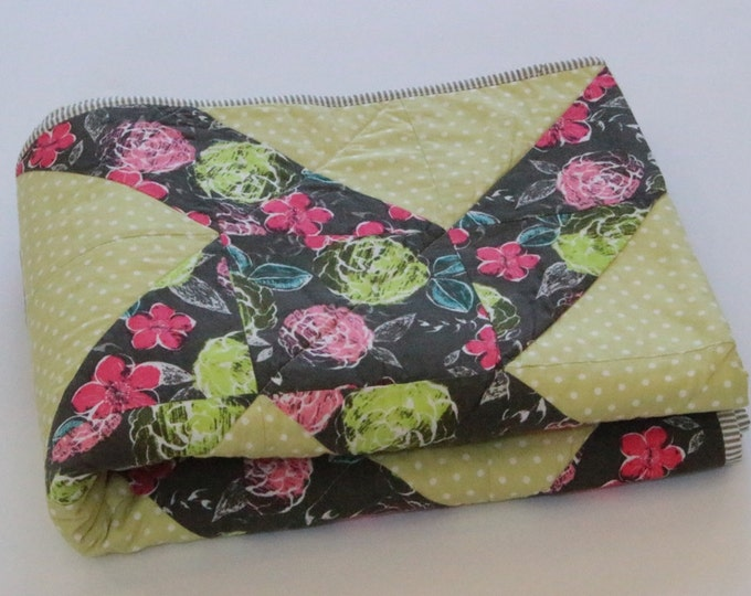 Green, Pink, Gray Modern Throw Quilt