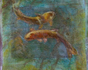 Pisces Original Dance of the Fishes Canvas mounted Fiber Art for the Wall - OOAK