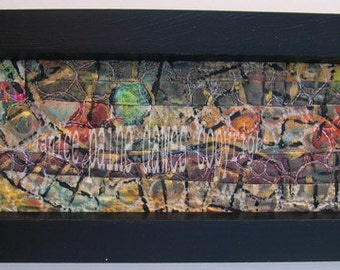 Ancient Marks V Abstract Textile Painted Quilt  Framed Wall Art Janice Paine Dawes