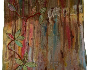 Woodbine Forest Mixed Textile Art Quilt OOAK Wall Hanging Janice Paine Dawes