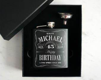 Personalized Birthday Flask, Custom birthday flask, 21 st Birthday Gift, Hip Flask, Birthday gift