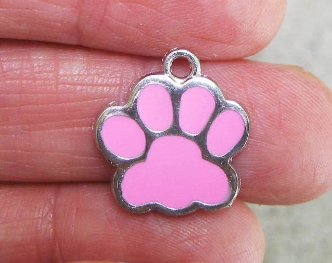 5 Pink and Silver Enamel Paw Charms C2600