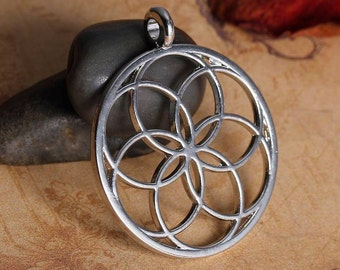 5 Seed of Life Charms in Silver Tone - C2397