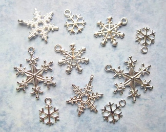 Snowflake Charm Collection in BRIGHT Silver Tone - C2449