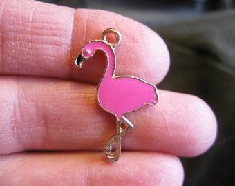 5 Pink Flamingo charms - C2582