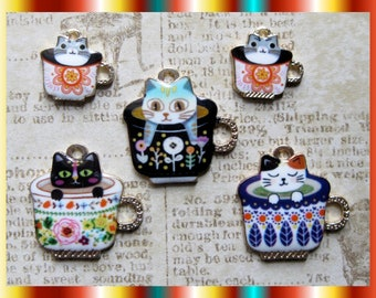 Cat Coffee Cup Charm Collection - C2863