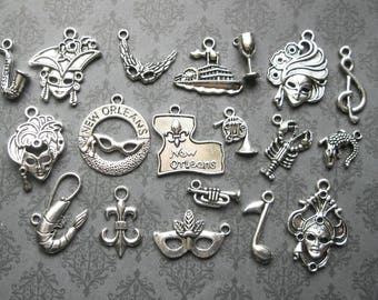 New Orleans Mardi Gras Charm Collection in Silver Tone - C2602
