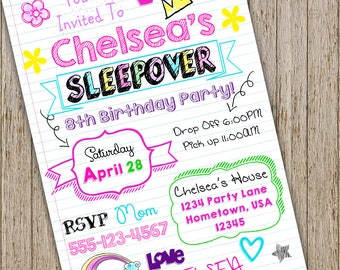 Teen Invitation Sleepover Tween Birthday Notebook Doodle Slumber Party Invitationgirl Invite