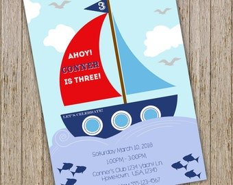 Sail Boat Birthday Invitation Nautical Sailing