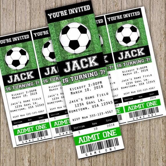 Invitation De Soccer Football Anniversaire Invitation Etsy