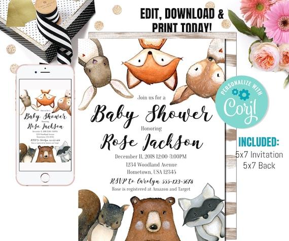 Kids Birthday Baby Girl Gender Neutral Digital File Woodland Animal Baby Shower Invitation Baby Boy