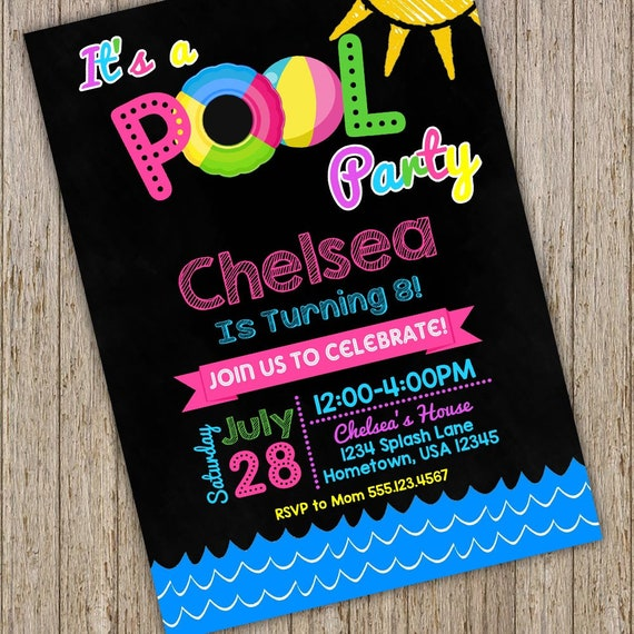 pool party invitations swimming pool birthday party swimming