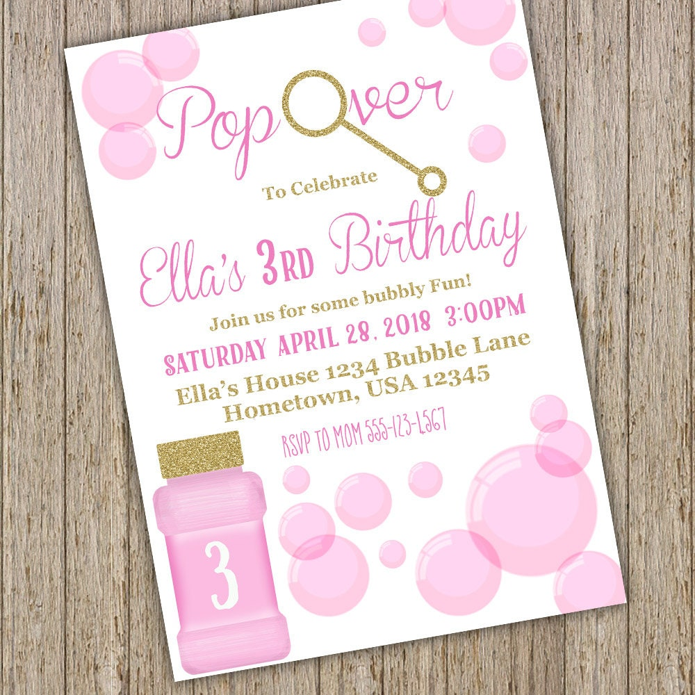 Bubble Birthday Invitation Bubble Birthday Party | Etsy