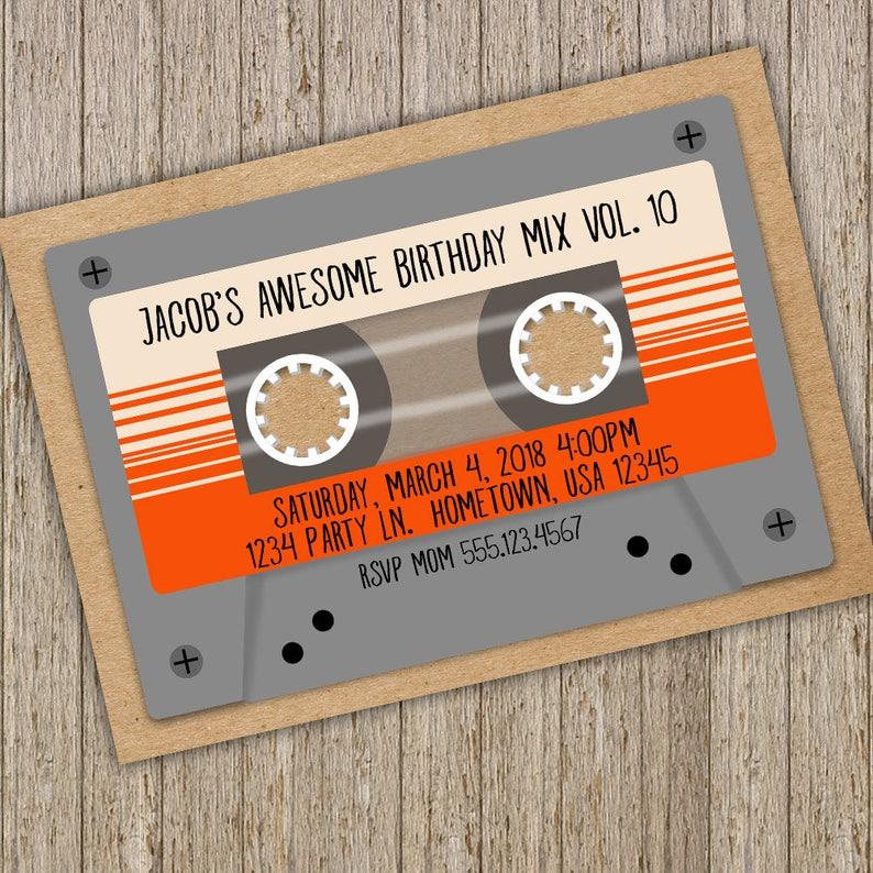 Cassette Tape Birthday Invitation Retro Mix Tape Invitation Etsy