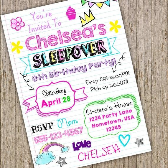 Teen Invitation Sleepover Tween Birthday Notebook