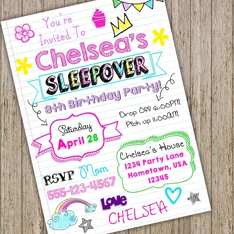 Teen Invitation Sleepover Tween Birthday Notebook Doodle Slumber Party Invitationgirl Invite