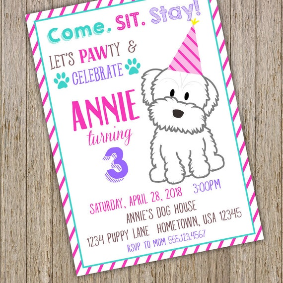 Puppy Birthday Invitation Dog Party Invitations Themed Girl