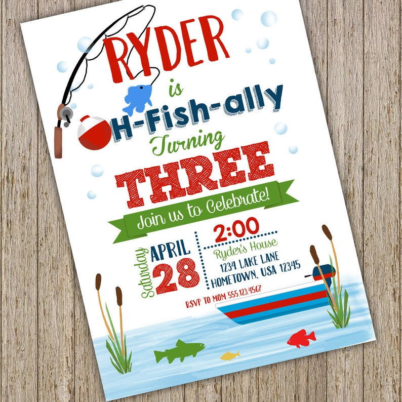 Fishing Birthday Invitation Fishing Invitations Fishing Etsy