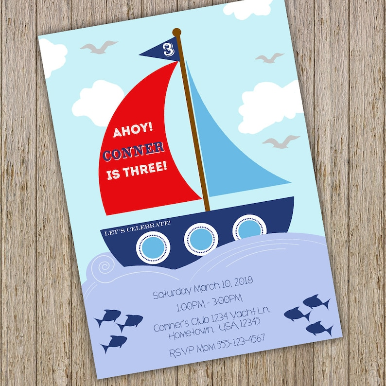 Sail Boat Birthday Invitation Nautical
