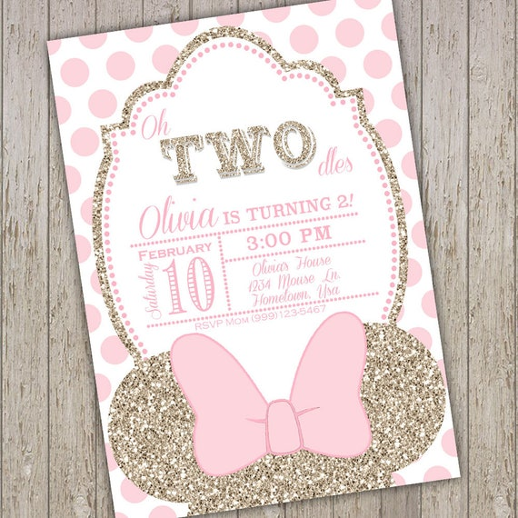 Minnie Mouse Invites Second Birthday Party Invitations Invitation Oh Two Dles Girl