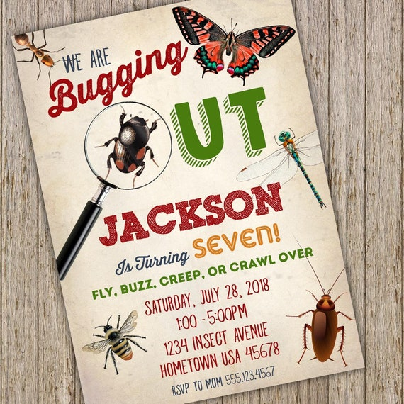 Bug Birthday Invitation Printable Party Invite Insect Bugging Out