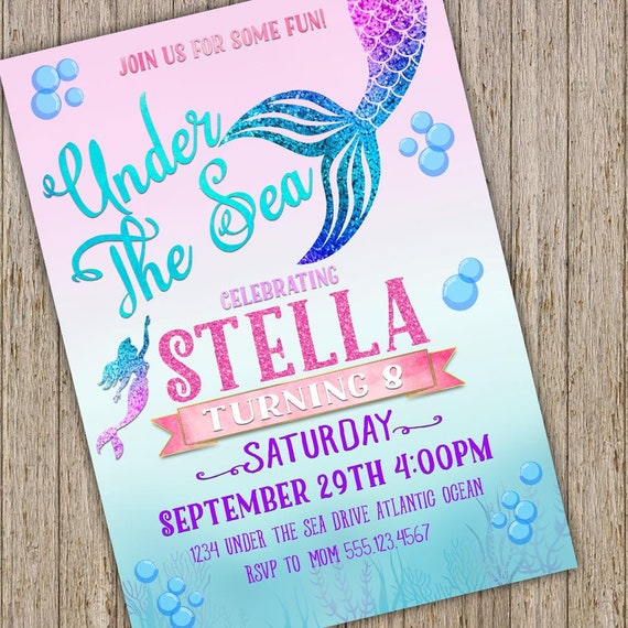 photo relating to Printable Mermaid Invitations named Mermaid Invitation - Tiny Mermaid Birthday Invites