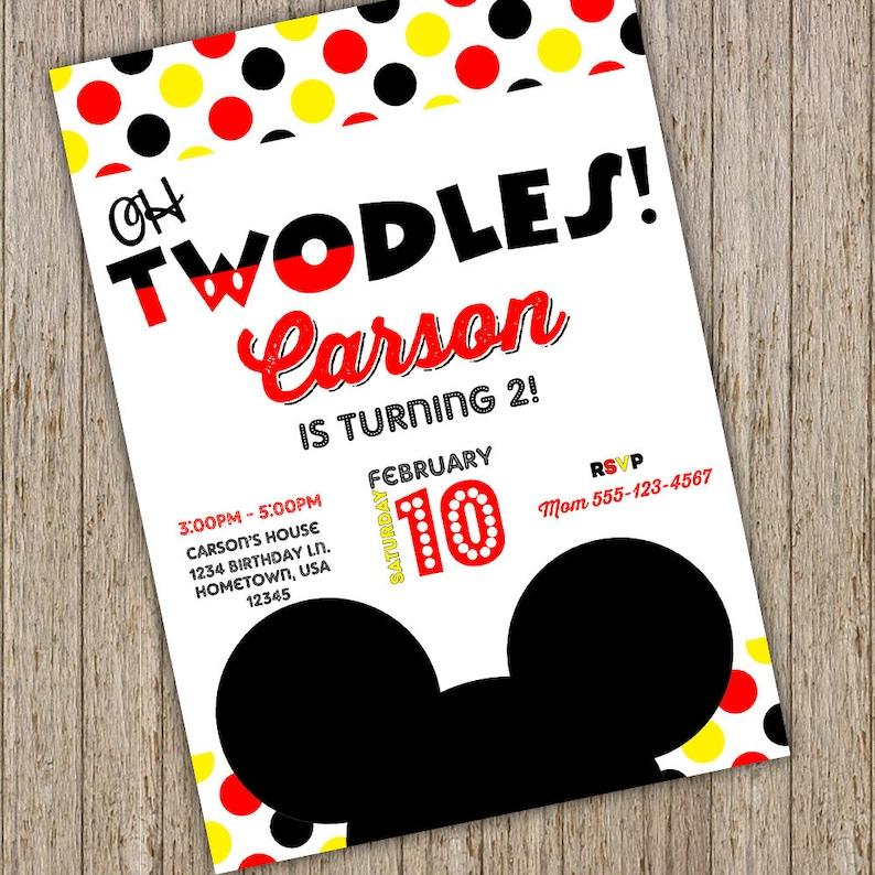Mickey Mouse Invite 2nd Birthday Invitations