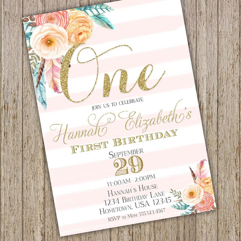Floral First Birthday Invitations 1st Birthday Girl Invite | Etsy