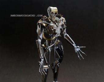 "Watch Part Sculpture ""Chronoton"" Clockwork Mechanical Humanoid Robot Recycled Assemblage Steampunk Justin Gershenson-Gates A Mechanical Mind"