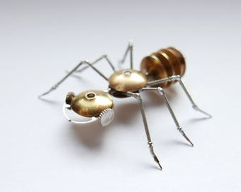 Watch Parts Insect Sculpture Ant No 4 Recycled Clockwork Insect Figurine Stems Metal Arthropod A Mechanical Mind Gershenson