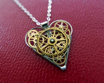 "Gear Heart Necklace ""Sands"" Steampunk Pendant Industrial Clockwork Mechanical Watch Parts Love Gift Wife Girlfriend Birthday Gift"