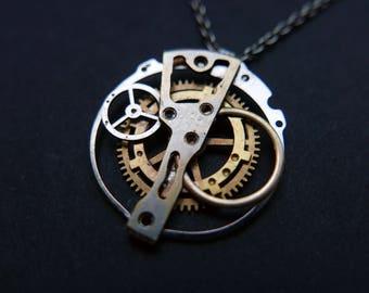 "Watch Parts Pendant ""Zeta"" Cosmic Alien Delicate Beautiful Mechanical Watch Sculpture Necklace Industrial Steampunk Art Mechanical Mind"